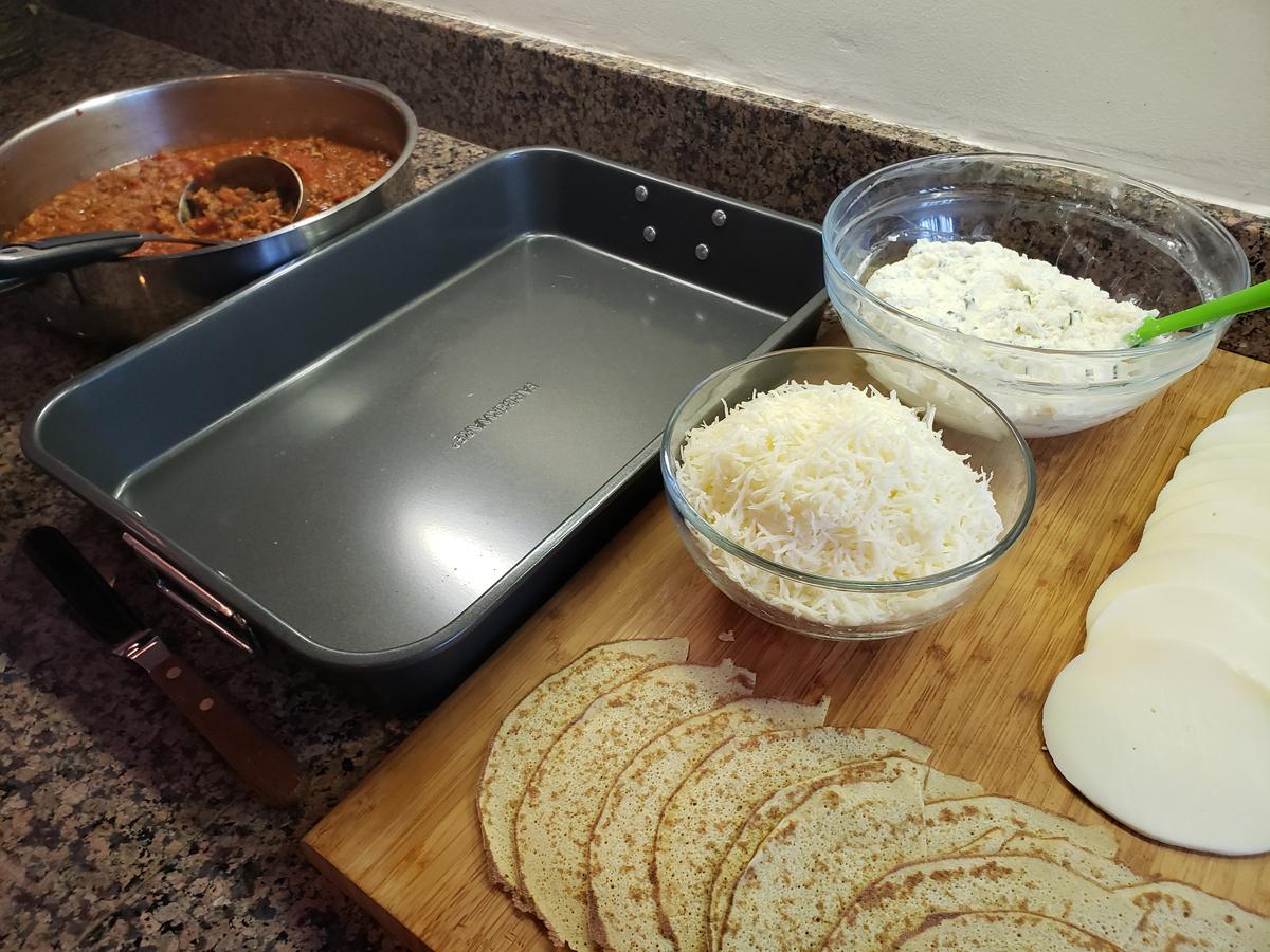 Mis en place for building the lasagna