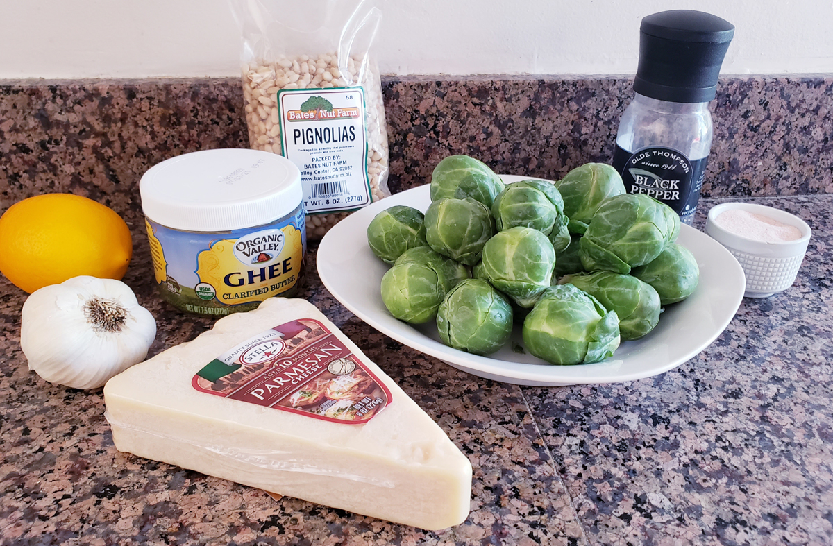 Recipe ingredients for keto Brussels sprout salad