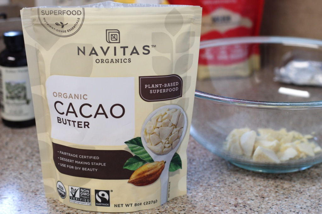 Cacao butter in a mixing bowl