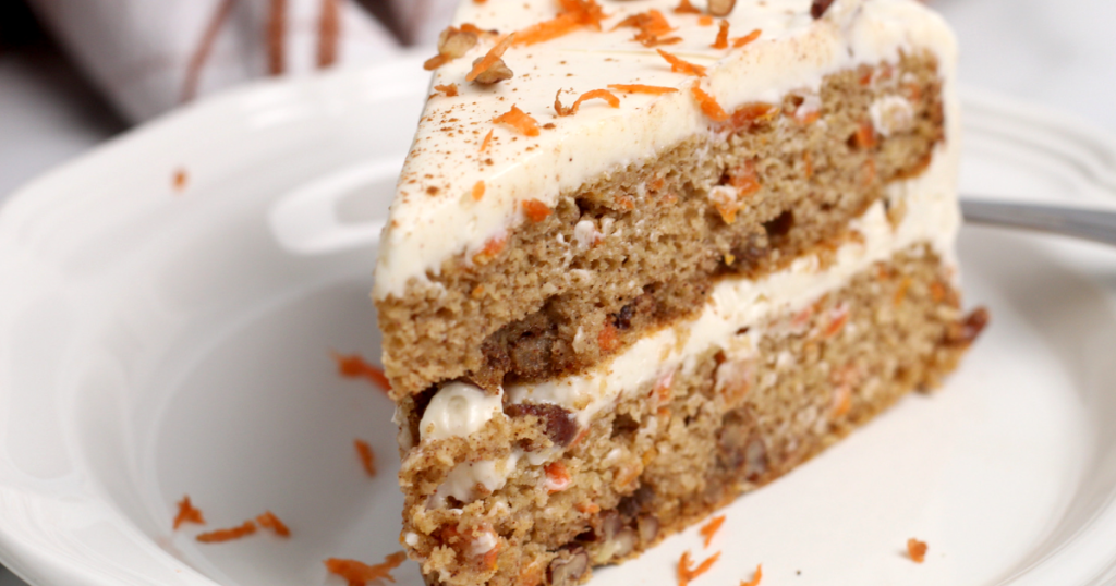 carrot cake slice with cream cheese frosting