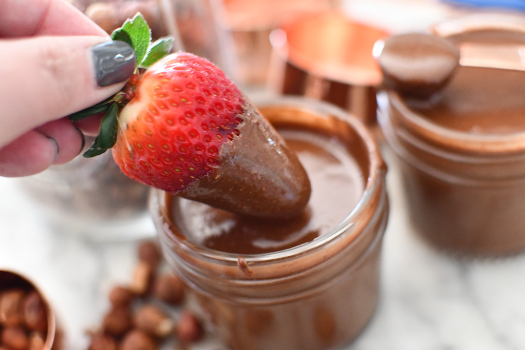 taking strawberry out of keto nutella dip