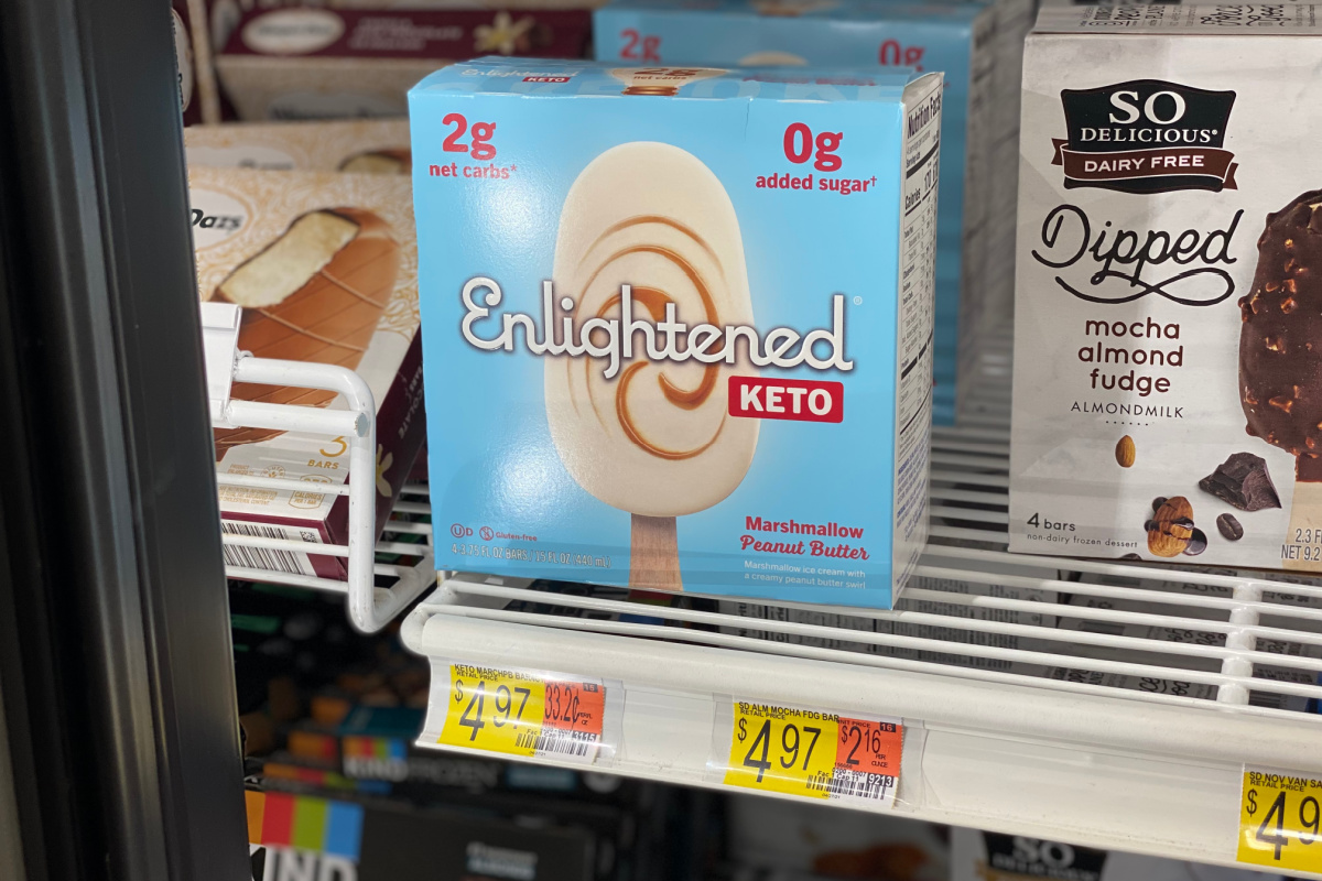 box of ice cream bars in store freezer