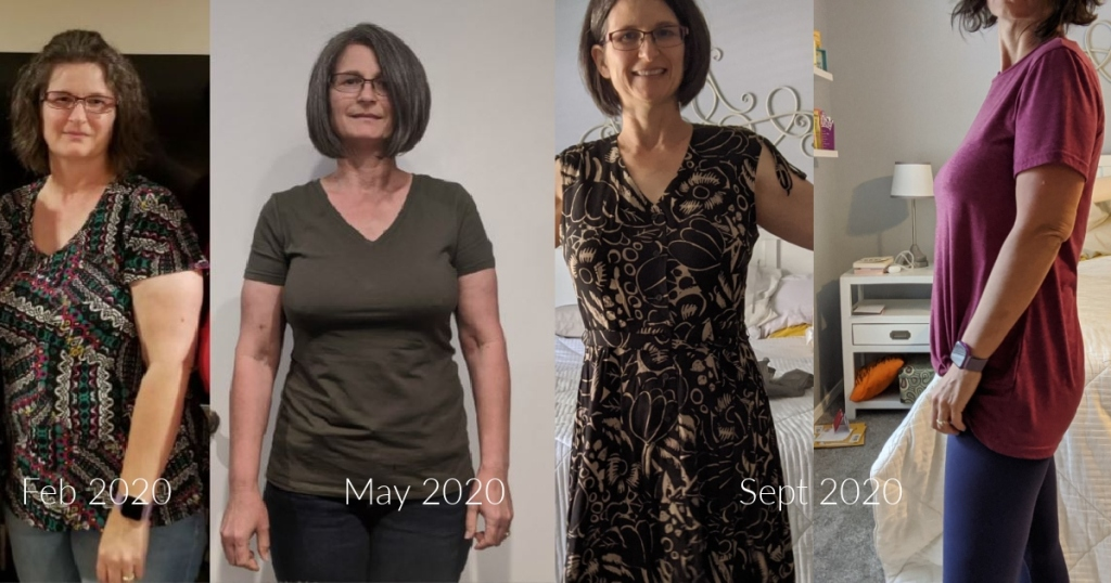 woman at 4 stages during keto weight loss