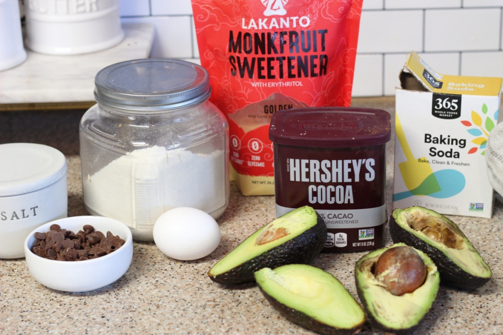 ingredients for keto avocado chocolate cookies