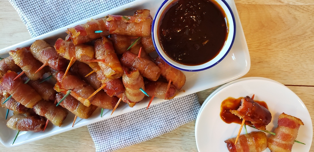 keto bacon-wrapped little smokies on platter