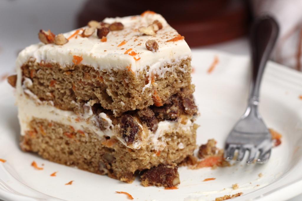 keto carrot cake slice on plate