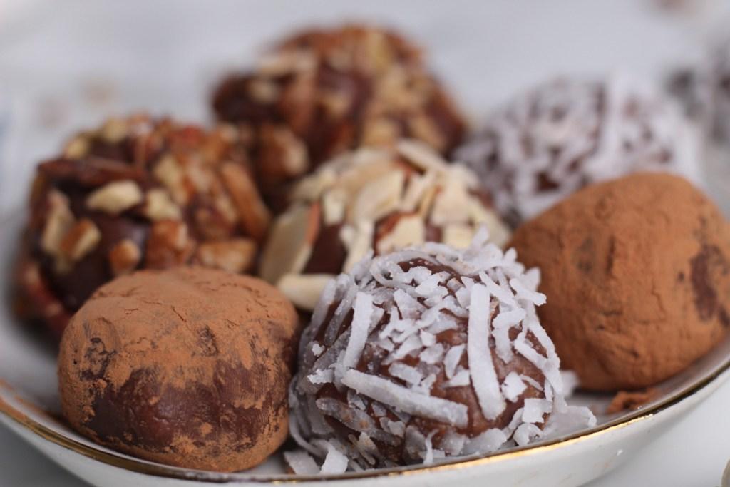 keto chocolate truffles on a plate
