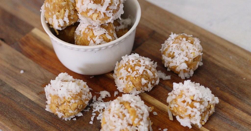 tray of keto coconut truffles