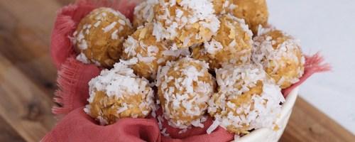 keto coconut truffles in bowl