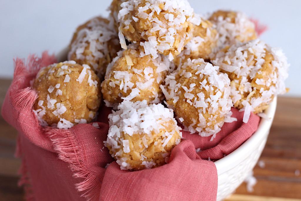 keto truffles with shredded coconut in bowl