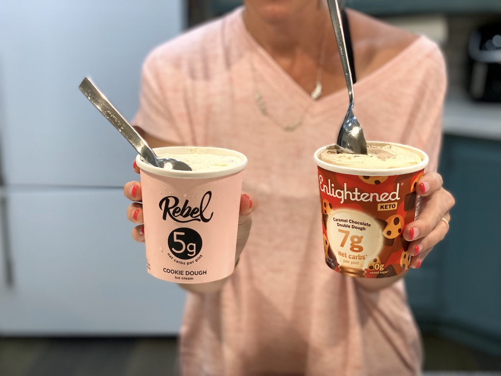 holding Rebel and Enlightened ice cream pints