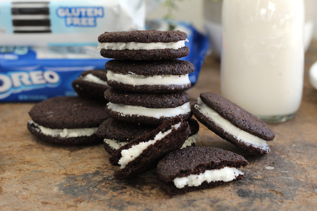 keto oreo cookies stacked on each other