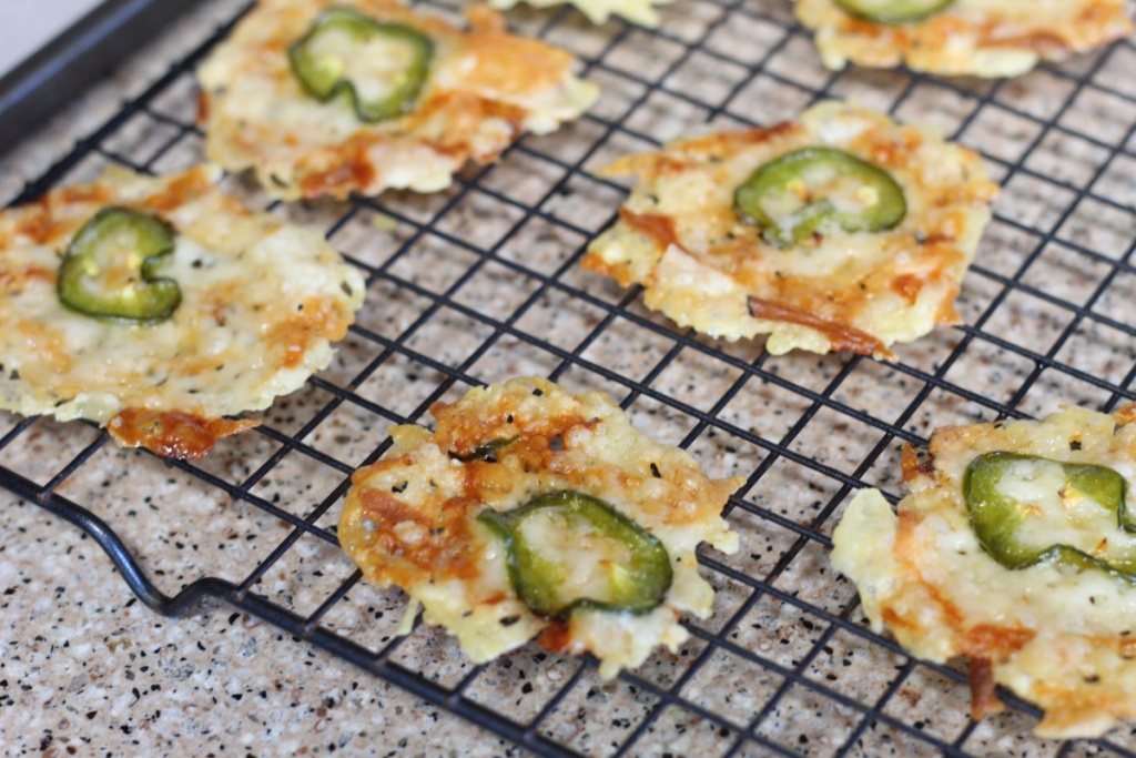 jalapeno cheese crisps on cooling rack