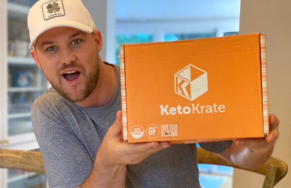 man holding keto krate box
