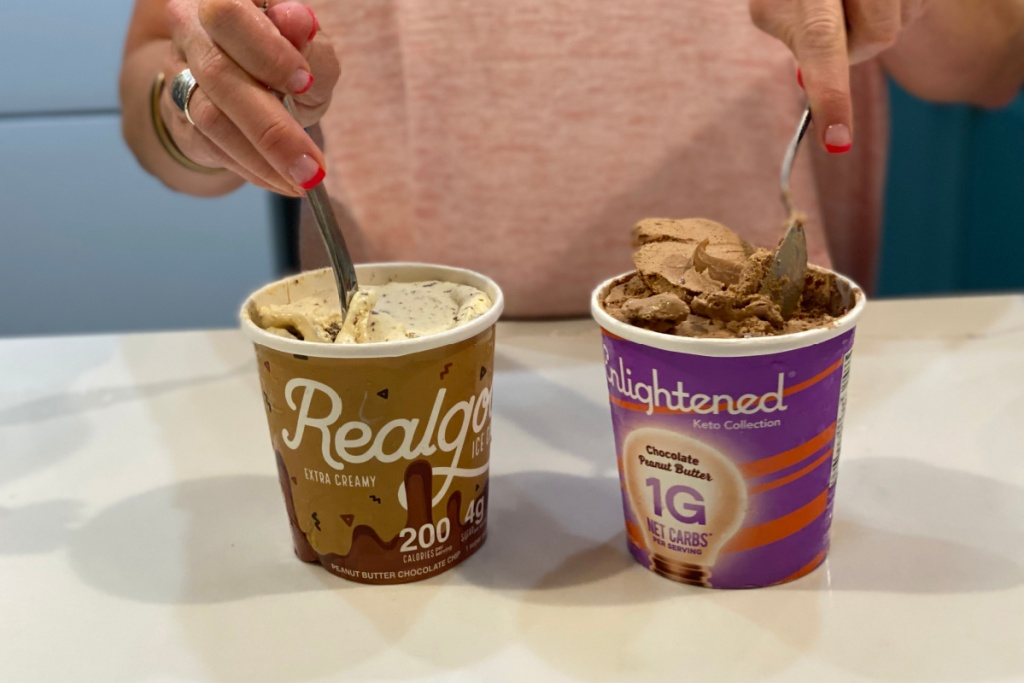 womanscooping out spoons of keto ice cream