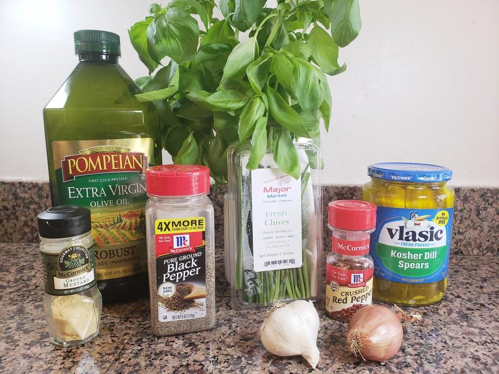 ingredients for keto pickle juice salad dressing