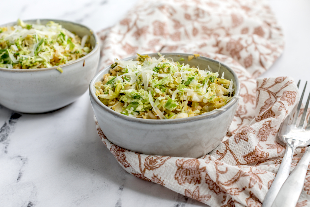 Brussels sprouts salad in two bowls