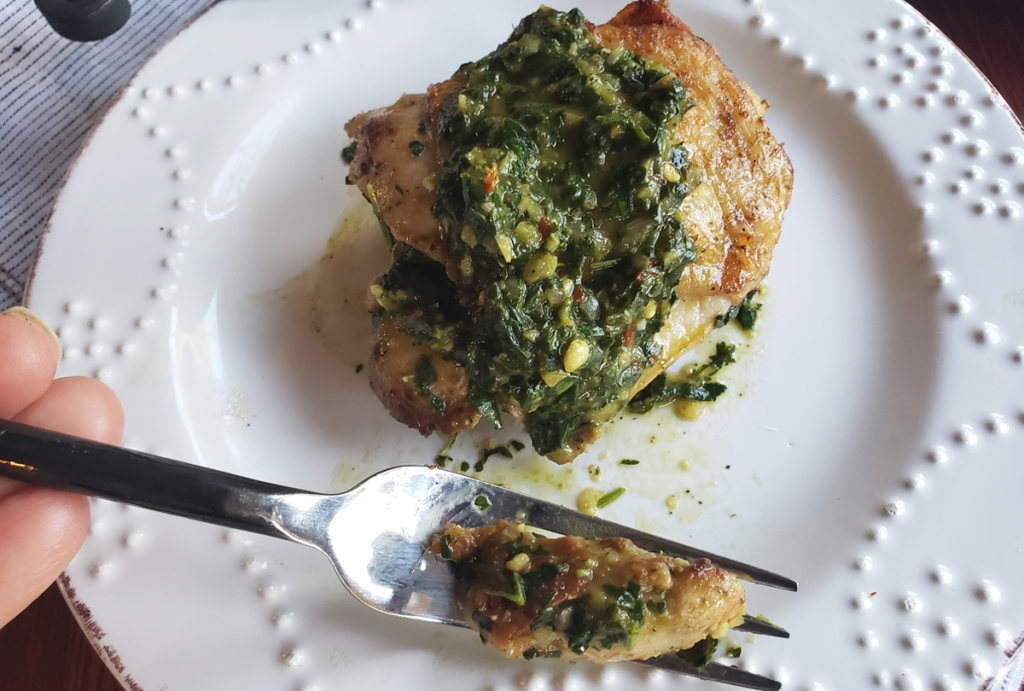 cilantro lime chicken on plate with fork