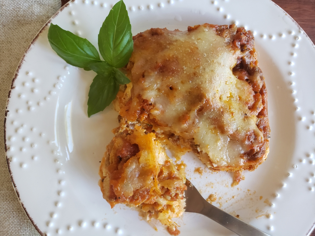 Egg Wrap Low Carb Lasagna on plate