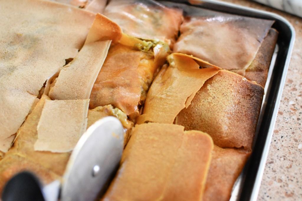 cutting a keto quesadilla