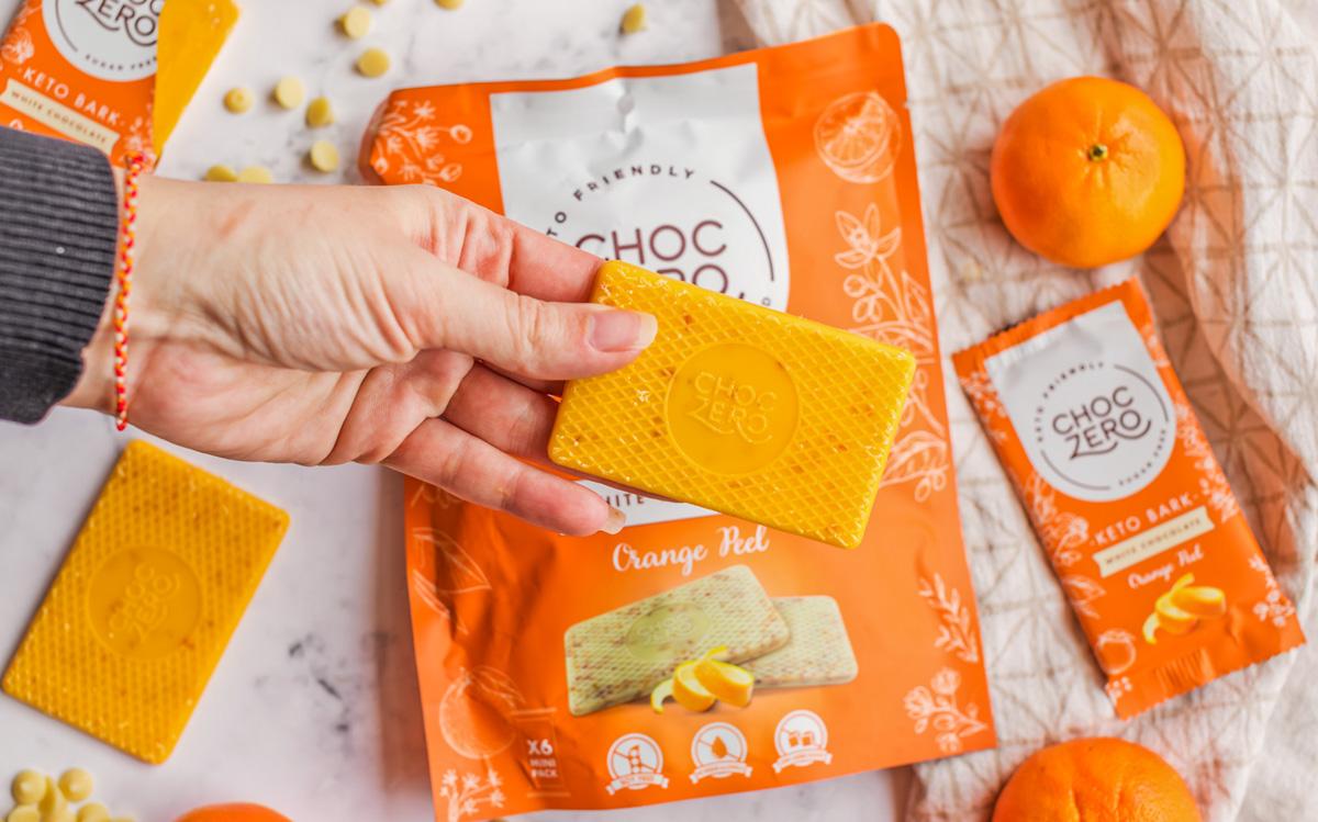 hand holding choc zero orange vanilla bark