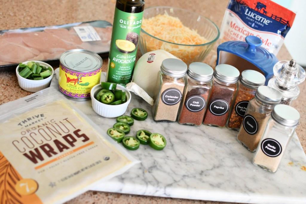 ingredients for keto sheet pan quesadillas
