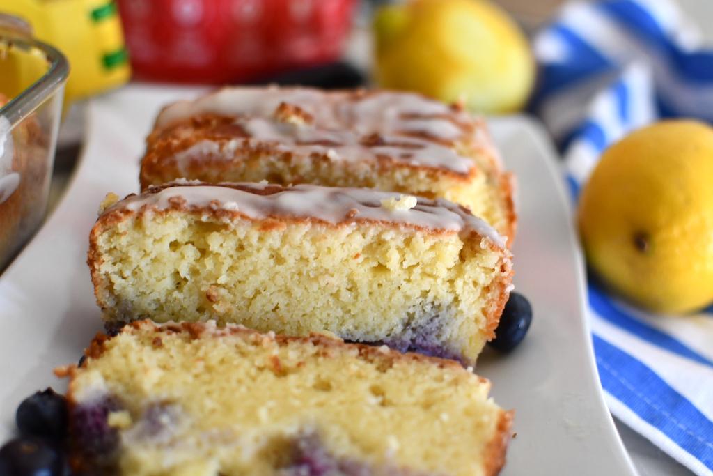 keto blueberry pound cake slices on plate