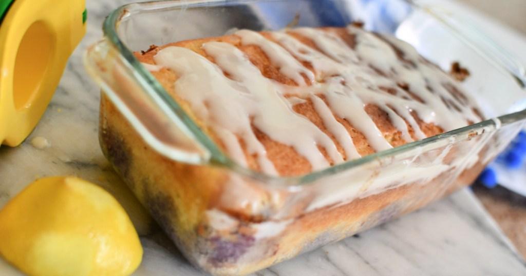 keto blueberry pound cake with lemon glaze