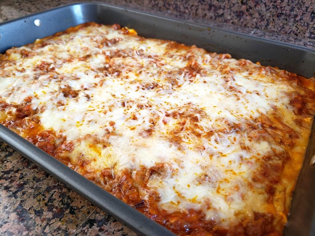 low-carb lasagna in pan