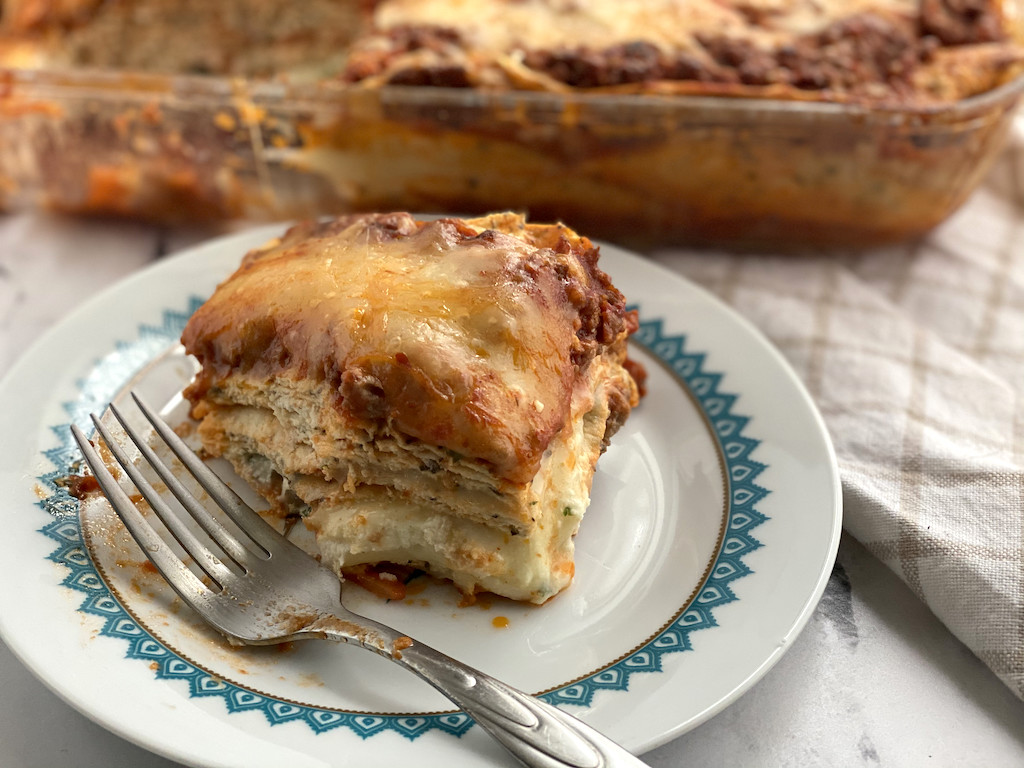 low carb lasagna on plate