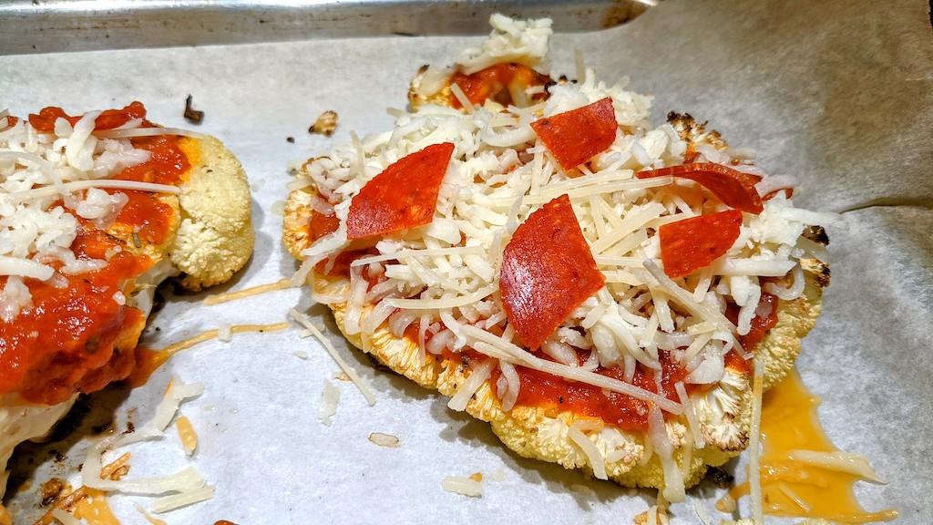 pepperoni & cheese on cauliflower