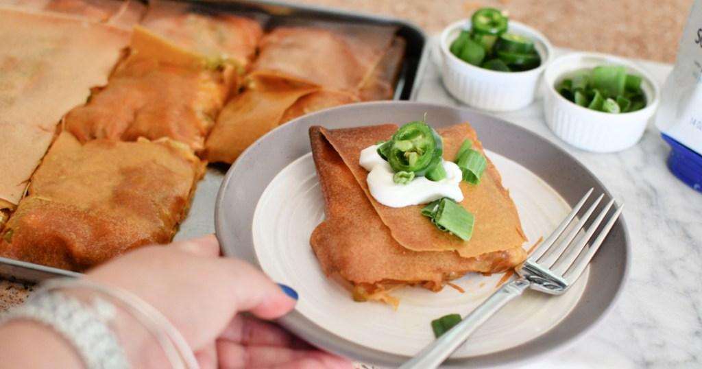 sheet pan quesadilla on a pan