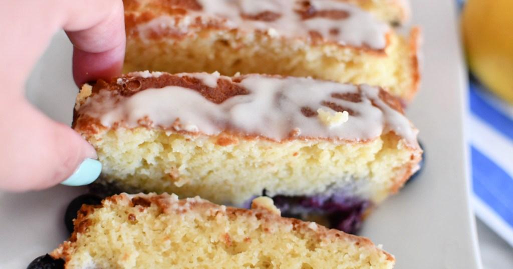 slice of keto blueberry pound cake