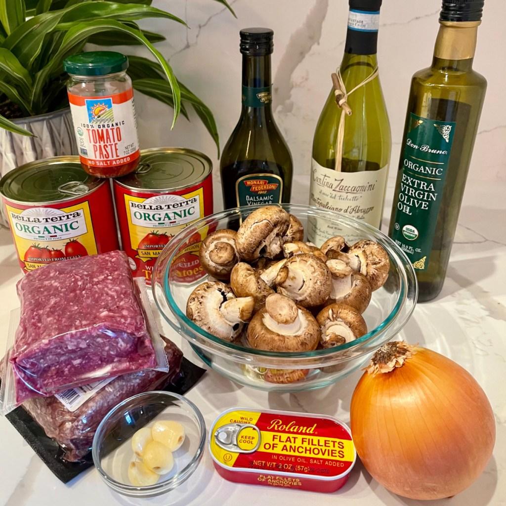 ingredients for Keto Marinara Meat Sauce