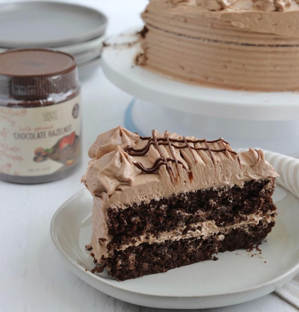 slice of keto choczero chocolate hazelnut spread cake