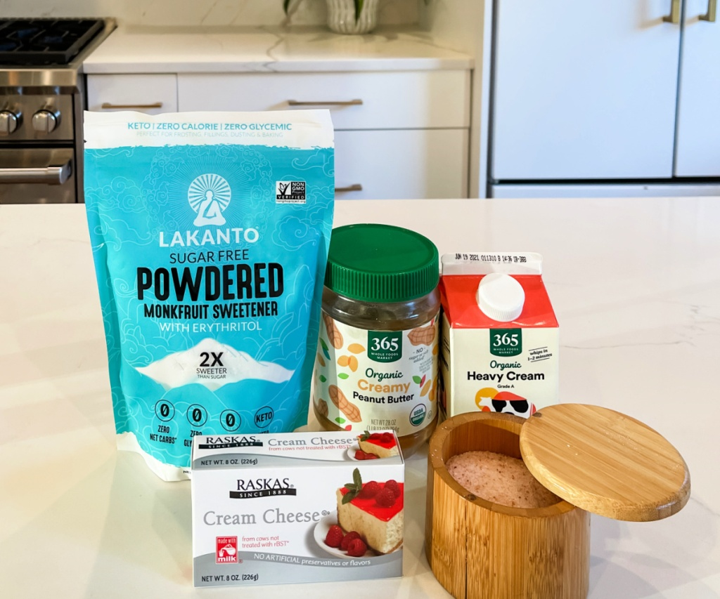 ingredients for whipped peanut butter mousse