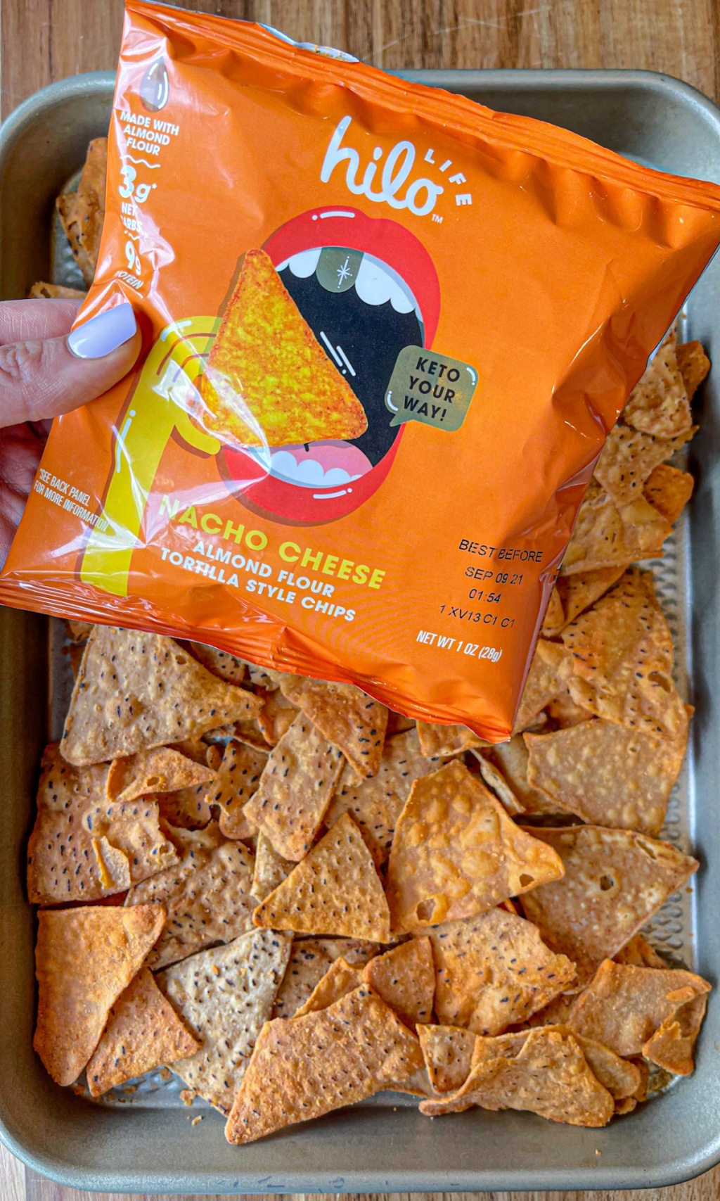 bag of HILO LIFE tortilla style nacho chips