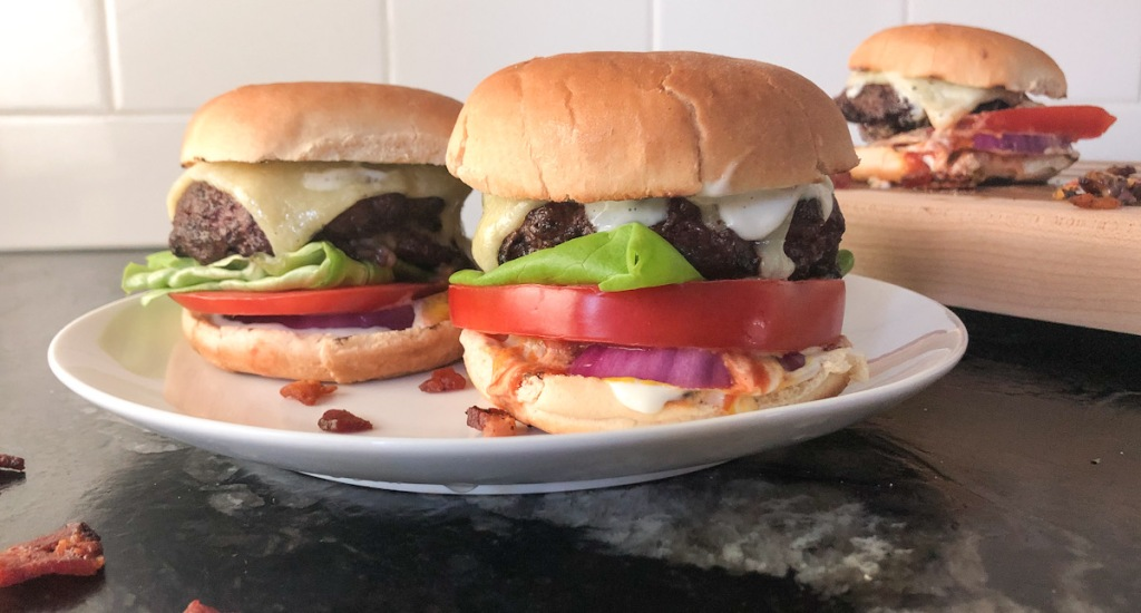 burgers on plate