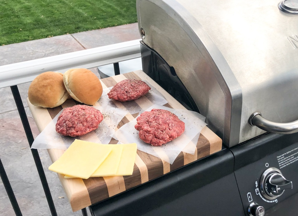 keto stuffed burgers ready to grill