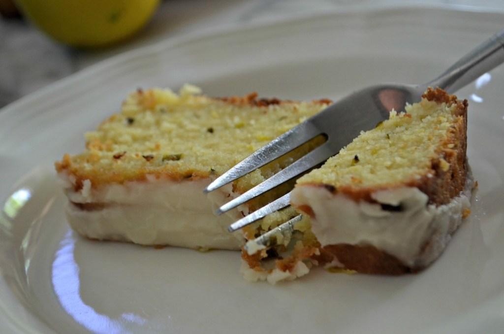 fork cutting lemon zucchini slice