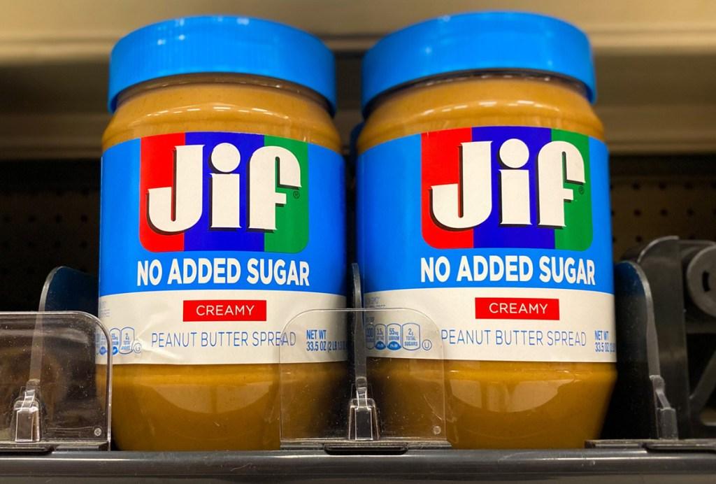 jif no sugar added peanut butter on shelf