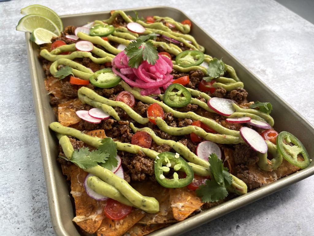 keto sheet pan nachos with toppings