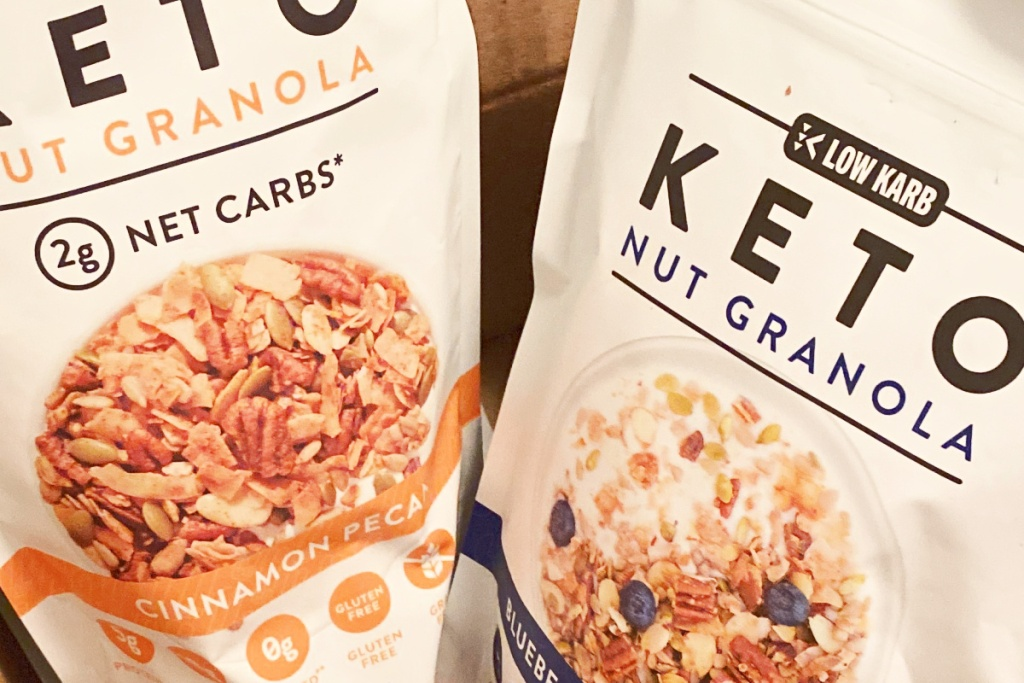 two bags of keto cereal