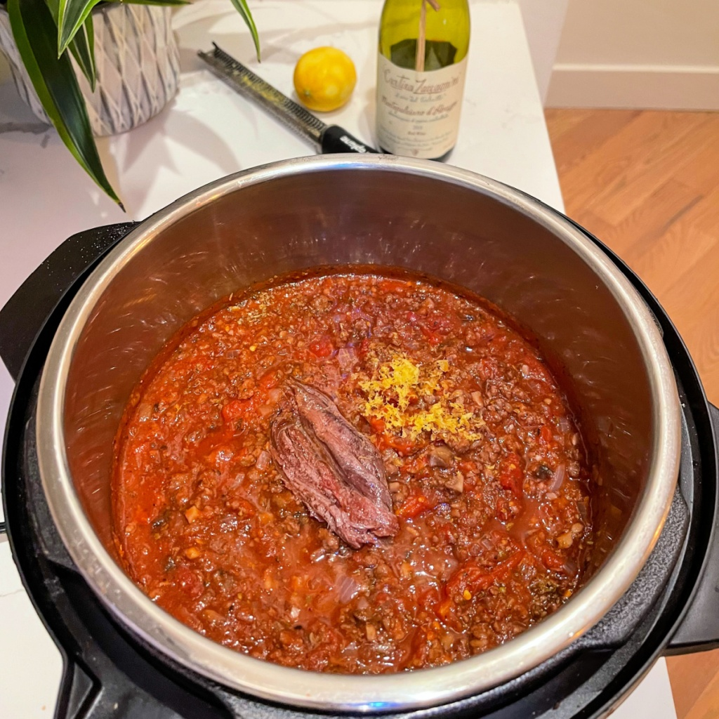 meat sauce with anchovies and lemon zest
