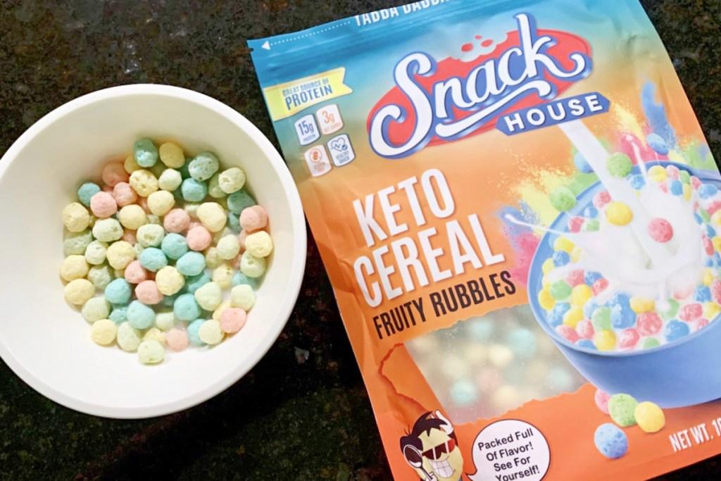 keto cereal bag and bowl