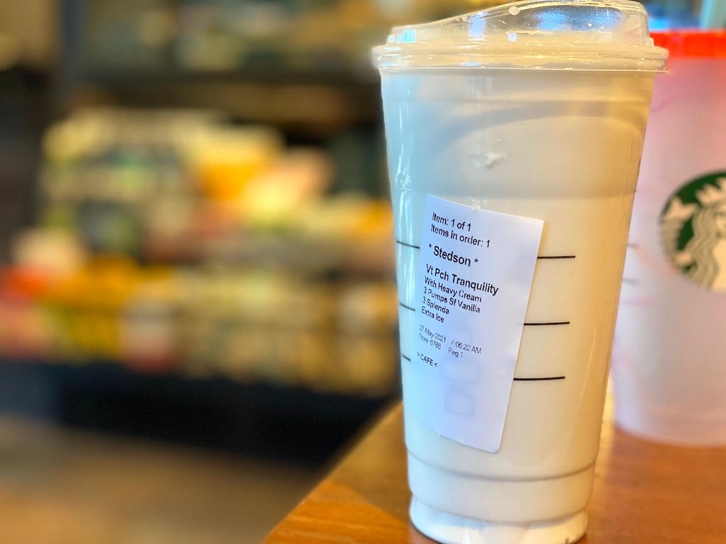 Starbucks peach drink order listed on cup