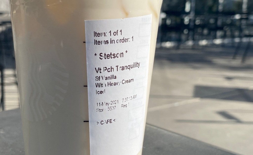 close up of starbucks peaches and cream iced drink order