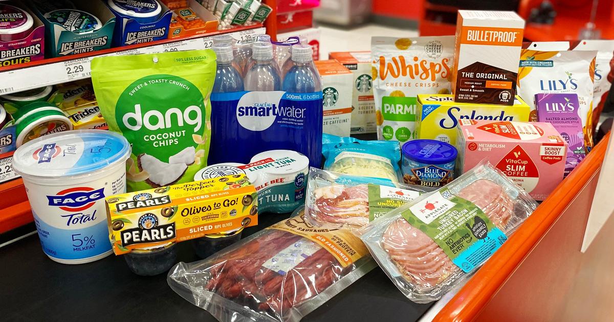 target keto groceries on store conveyor