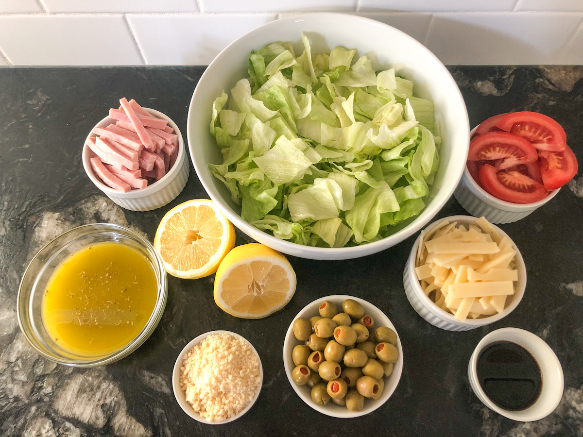 lettuce and toppings ready to assemble
