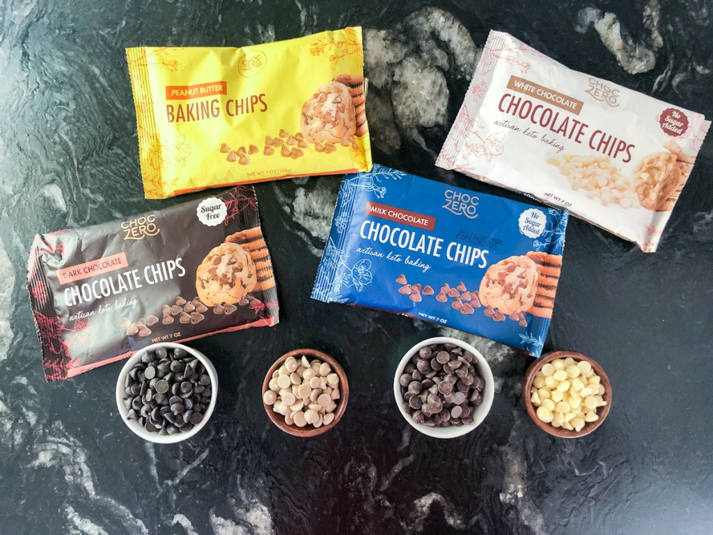 bags of sugar-free chocolate chips and chips in bowls